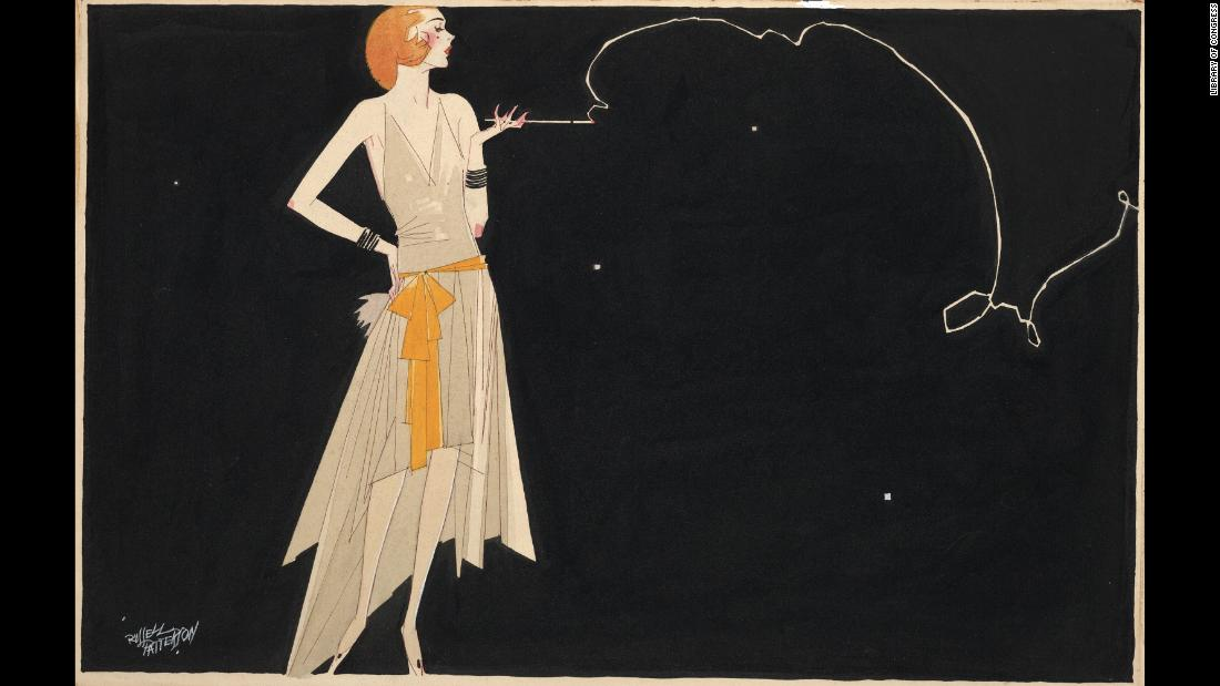 """Where there's smoke there's fire"" by American artist Russell Patterson dates to the 1920s. The full-length illustration depicts a fashionably dressed flapper with a slender body."