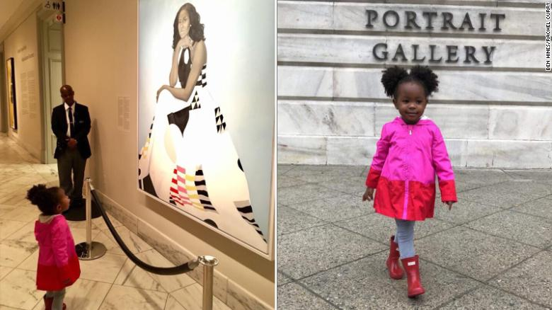Little girl amazed by Michelle Obama portrait