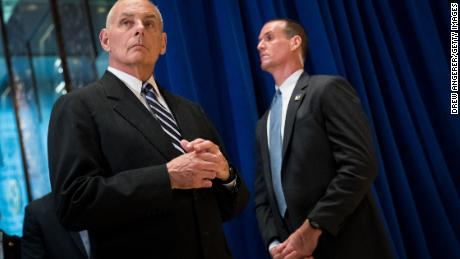 NEW YORK, NY - AUGUST 15: White House Chief of Staff Gen. John Kelly looks on as President Donald Trump speaks following a meeting on infrastructure at Trump Tower, August 15, 2017 in New York City. He fielded questions from reporters about his comments on the events in Charlottesville, Virginia and white supremacists. (Photo by Drew Angerer/Getty Images)