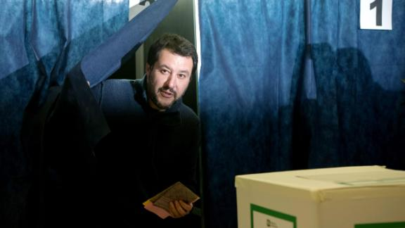 Lega Nord far right party leader Matteo Salvini prepares to vote for general elections at a polling station on March 4, 2018 in Milan.  Italians vote today in one of the country