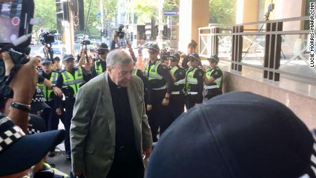 Cardinal George Pell arrives at Melbourne Magistrates Court on March 5, 2017.