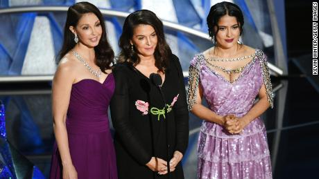 Actors Ashley Judd, Annabella Sciorra and Salma Hayek speak onstage during the 90th Annual Academy Awards at the Dolby Theatre at Hollywood & Highland Center on March 4, 2018