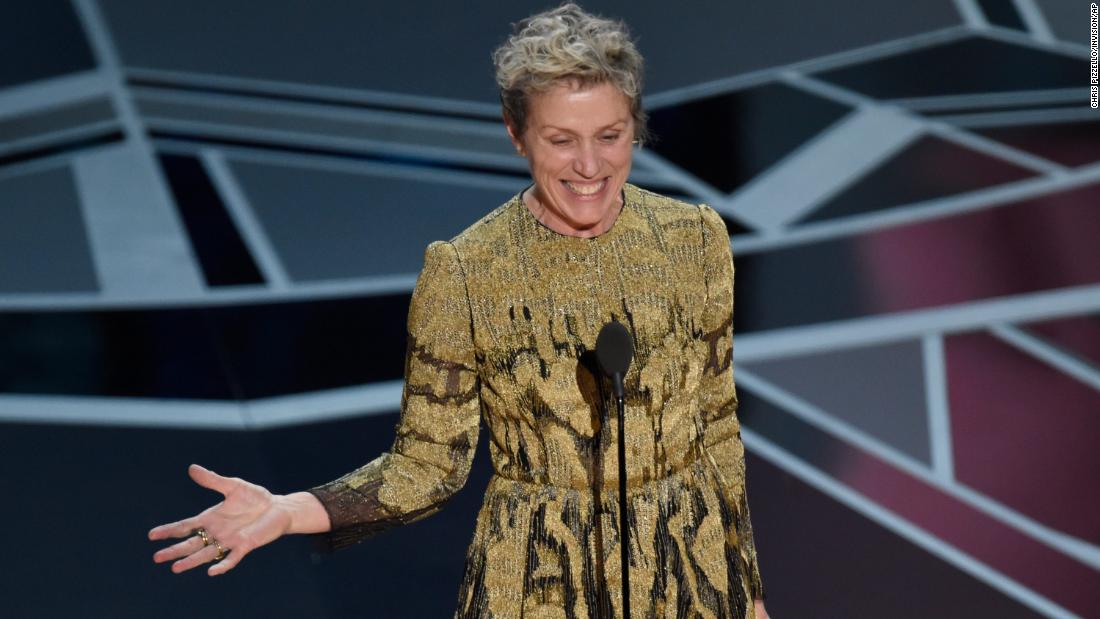 Frances McDormand champions female nominees, calls for inclusion riders