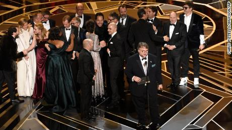 "Guillermo del Toro and the cast and crew of ""The Shape of Water"" accept the award for best picture at the Oscars on Sunday, March 4, 2018"