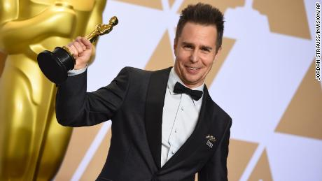 "Sam Rockwell, winner of the award for best performance by an actor in a supporting role for ""Three Billboards Outside Ebbing, Missouri"", poses in the press room at the Oscars on Sunday, March 4, 2018, at the Dolby Theatre in Los Angeles. (Photo by Jordan Strauss/Invision/AP)"