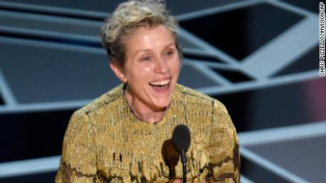 "Frances McDormand accepts the award for best performance by an actress in a leading role for ""Three Billboards Outside Ebbing, Missouri"" at the Oscars on Sunday, March 4, 2018, at the Dolby Theatre in Los Angeles."