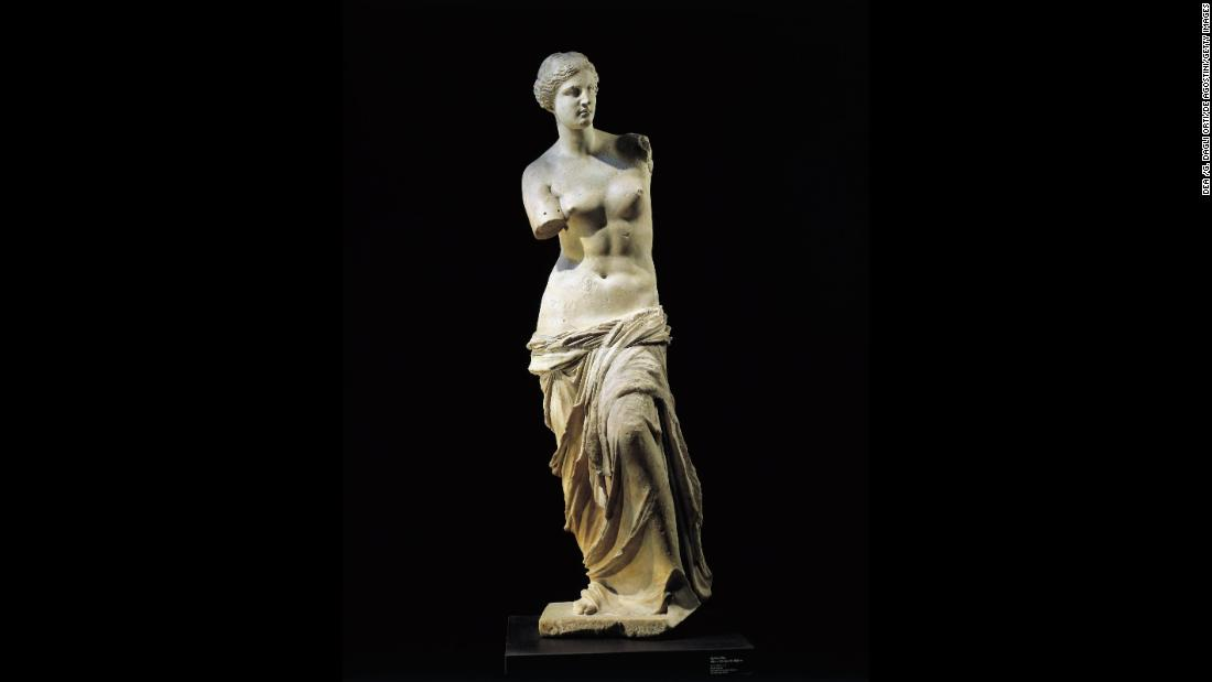 "The marble sculpture ""Venus de Milo"" dates to about 100 BC. The 6-foot-tall statue is commonly thought to represent Aphrodite, the ancient Greek goddess of sexual love and beauty."