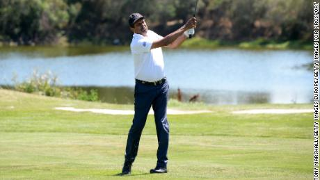 OLBIA, SARDINIA - JUNE 27:  Ex-Cricketer Kapil Dev hits a shot during The Costa Smeralda Invitational Golf Tournament at Pevero Golf Club,  Costa Smeralda on June 27, 2015 in Olbia, Italy.  (Photo by Tony Marshall/Getty Images for ProSport)