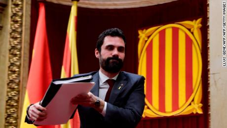 The President of Catalonia's parliament Roger Torrent arrives for a session on March 1, 2018 in Barcelona. Catalan separatist parties are considering appointing jailed civil society leader Jordi Sanchez as regional president as their negotiations to try and find a suitable candidate draw to a close, a lawmaker said. These parties -- which form an absolute majority in the Catalan parliament -- have been negotiating for weeks over who to pick as candidate for the regional presidency as Catalonia's sacked leader Carles Puigdemont is in self-exile in Belgium.   / AFP PHOTO / LLUIS GENE        (Photo credit should read LLUIS GENE/AFP/Getty Images)