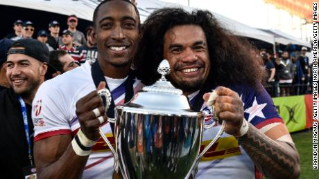 LAS VEGAS, NV - MARCH 04:   Perry Baker #11 and Folau Niua #7 of the United States celebrate after winning the Cup Final match 28-0 over Argentina during the USA Sevens Rugby tournament at Sam Boyd Stadium on March 4, 2018 in Las Vegas, Nevada. (Photo by Brandon Magnus/Getty Images)