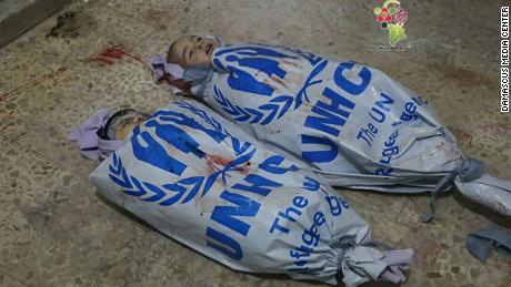 Activists used UN banners as shrouds to express their frustrations with the organization, according to activist sources.