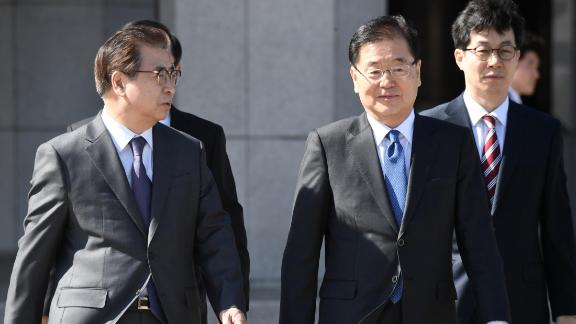Chung Eui-yong (2nd R), head of the presidential National Security Office, and Suh Hoon (L), the chief of the South's National Intelligence Service, talk before boarding an aircraft as they leave for Pyongyang at a military airport in Seongnam, south of Seoul, on March 5, 2018.  A South Korean delegation heading to Pyongyang on March 5 will push for talks between the nuclear-armed North and the United States, the group's leader said. / AFP PHOTO / pool / Jung Yeon-je        (Photo credit should read JUNG YEON-JE/AFP/Getty Images)