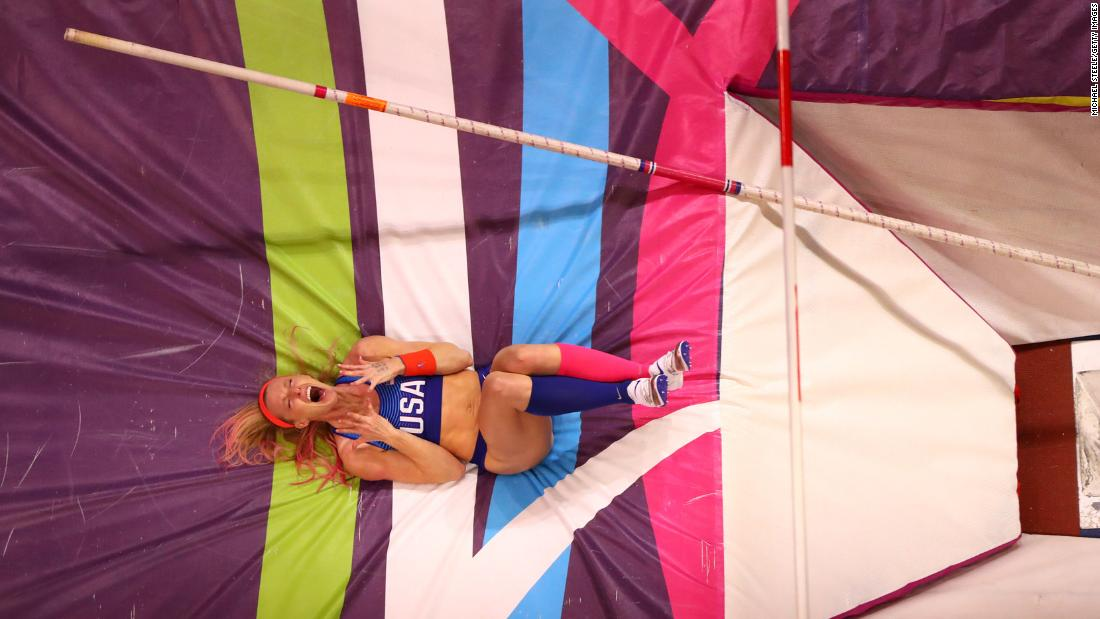 American pole vaulter Sandi Morris celebrates Saturday, March 3, after a jump at the World Indoor Championships. Morris won the event after clearing 4.95 meters (16 feet, 3 inches).