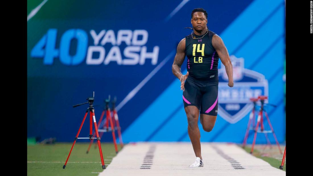 "Shaquem Griffin runs the 40-yard dash during the NFL Scouting Combine on Sunday, March 4. Griffin, a former linebacker from the University of Central Florida, <a href=""http://bleacherreport.com/articles/2762612-shaquem-griffin-one-handed-lb-overcomes-it-all-to-dominate-the-nfl-combine"" target=""_blank"">made headlines for his strong performance at the combine.</a> He ran the 40 in 4.38 seconds, and he completed 20 bench-press reps with a prosthetic left hand. Griffin was 4 years old when he had his hand amputated because of a rare birth condition."