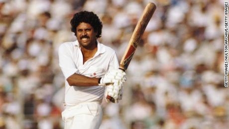 DELHI, INDIA - OCTOBER 23: India batsman Kapil Dev pulls a ball during a Nehru Cup match against West Indies on October 23, 1989 in Delhi, India.  (Photo Allsport/Getty Images)