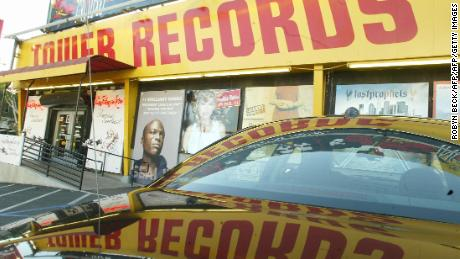 The entrance to a Tower Records store in Hollywood in February 2004.