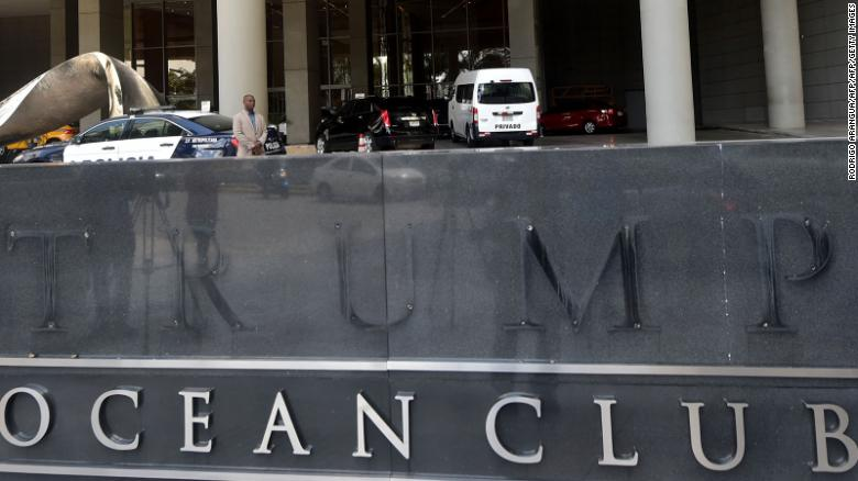 Trump's name pried from a hotel sign in Panama