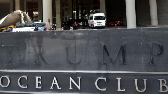 View of the hotel entrance sign after the Trump letters were removed, outside the hotel in Panama City on March 5, 2018.  Panamanian prosecutors are investigating a dispute between owners and the management of a Trump hotel, a skyscraper that cuts a distinctive figure among the towers crowding the capital city. / AFP PHOTO / RODRIGO ARANGUA        (Photo credit should read RODRIGO ARANGUA/AFP/Getty Images)