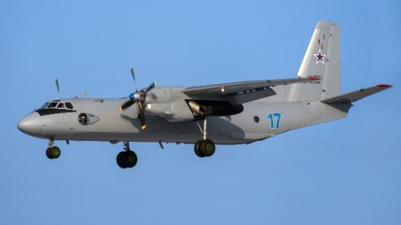 An Antonov An-26 Russian transport plane, like the one in this file photo, crashed Tuesday in Syria.
