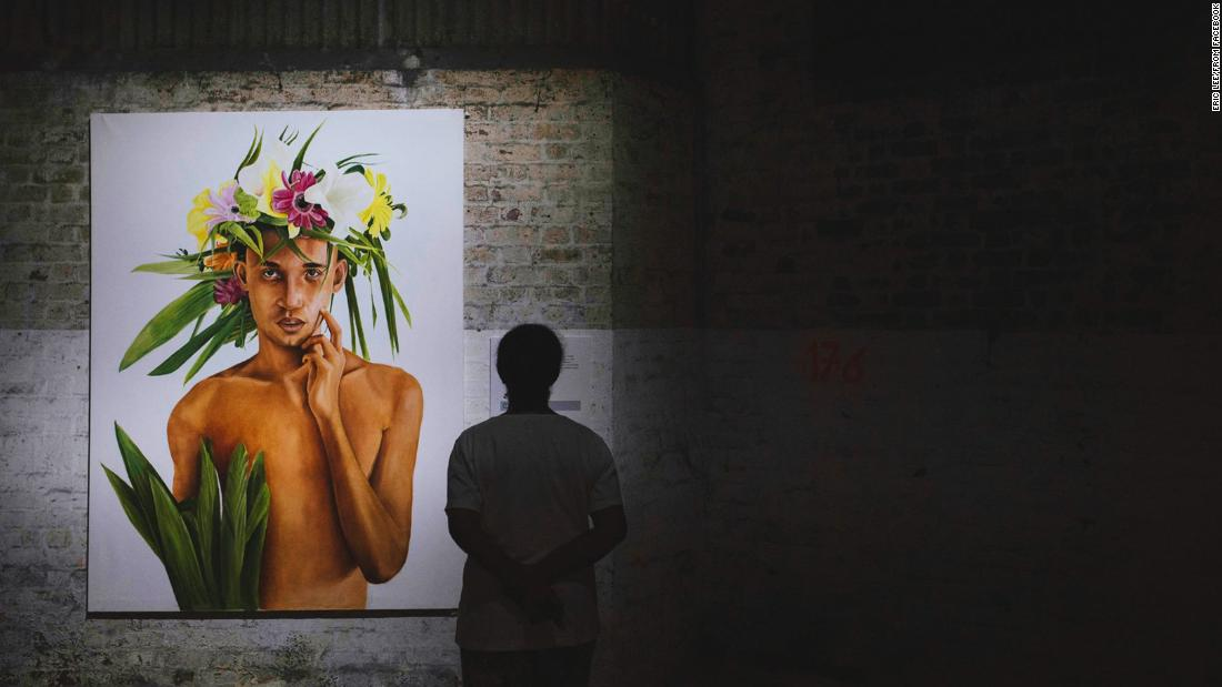 This portrait is by Mauritian artist, Thierry Amery. The crown of flowers ties in with the festival's theme, representing man's relationship with nature.