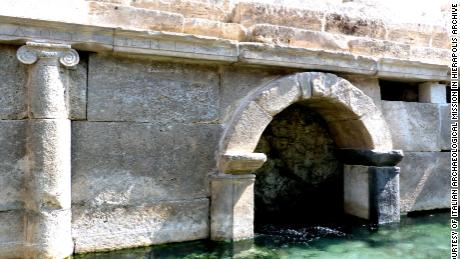The Ionic façade of the cave of the Ploutonion, with a dedication to Pluto and Kore (Italian Archaeological Mission in Hierapolis).