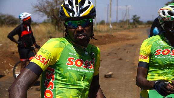 """Kinjah, who is considered locally as the """"Father of Kenyan Cycling."""" The Kenyan team was founded in 2009. They undertake grueling training regimes at high altitude in the Rift Valley."""