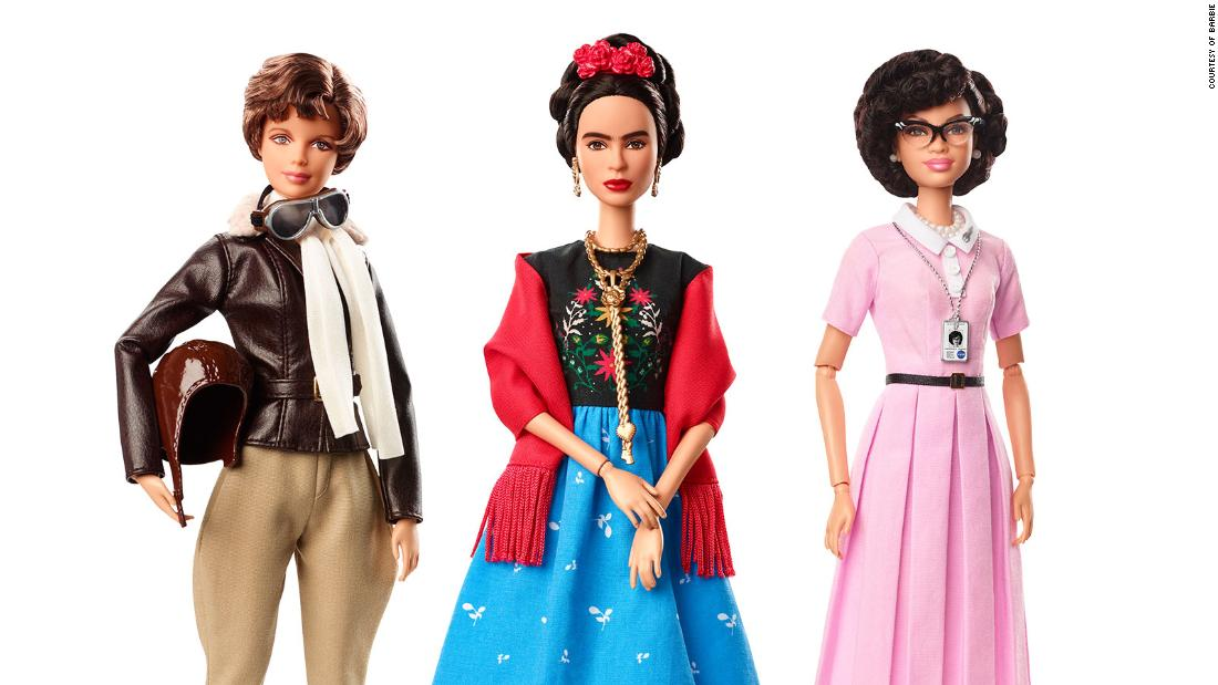 "Just ahead of International Women's Day last year, Barbie introduced a batch of new dolls <a href=""https://www.cnn.com/2018/03/06/us/barbie-dolls-inspiring-women-trnd/index.html"" target=""_blank"">based on real-life figures.</a> From left are Amelia Earhart, Frida Kahlo and Katherine Johnson."