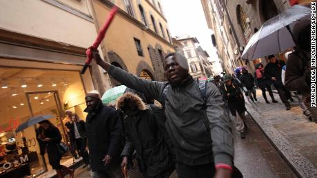 Dozens demonstrated in Florence on Monday evening.
