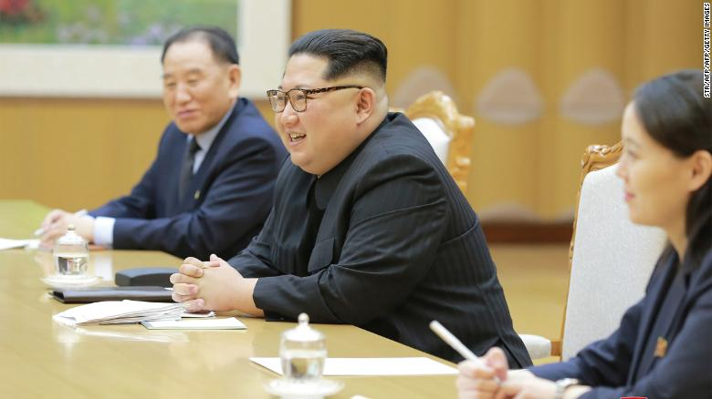 This picture  released from North Korea's official Korean Central News Agency (KCNA) on Tuesday shows North Korean leader Kim Jong Un (center) meeting with the South Korean delegation. To Kim's left is his sister and confidante, Kim Yo Jong.