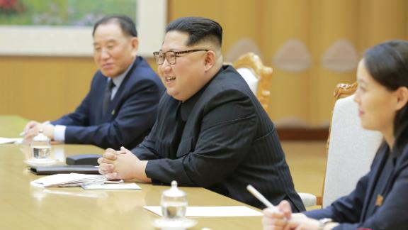 "This picture taken on March 5, 2018 and released from North Korea's official Korean Central News Agency (KCNA) on March 6, 2018 shows North Korean leader Kim Jong-Un (C) meeting with South Korean delegation, who travelled as envoys of the South's President Moon Jae-in, in Pyongyang.    North Korean leader Kim Jong Un discussed ways to ease tensions on the peninsula with visiting South Korean envoys, the state KCNA news agency reported on March 6. / AFP PHOTO / KCNA VIA KNS / STR / / AFP PHOTO / KCNA VIA KNS / STR / SOUTH KOREA OUT / REPUBLIC OF KOREA OUT   ---EDITORS NOTE--- RESTRICTED TO EDITORIAL USE - MANDATORY CREDIT ""AFP PHOTO/KCNA VIA KNS"" - NO MARKETING NO ADVERTISING CAMPAIGNS - DISTRIBUTED AS A SERVICE TO CLIENTS        (Photo credit should read STR/AFP/Getty Images)"