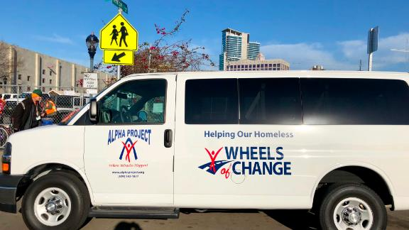 "The San Diego ""Wheels of Change"" van, which transports the newly employed work teams to their cleanup sites."