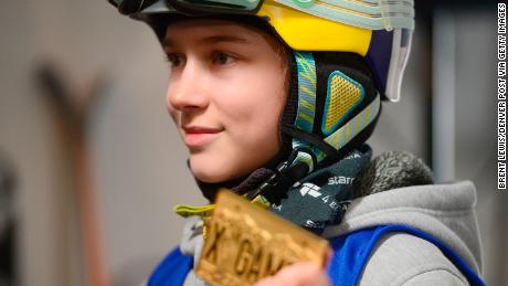 Kelly Sildaru holds aloft her X Games gold medal at Buttermilk Mountain in Aspen, aged 13.