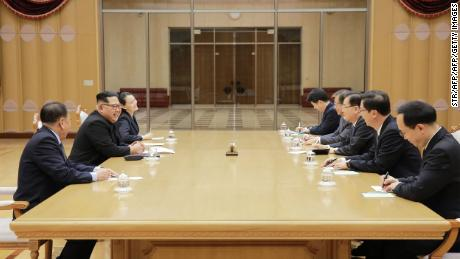 "This picture taken on March 5, 2018 and released from North Korea's official Korean Central News Agency (KCNA) on March 6, 2018 shows North Korean leader Kim Jong-Un (2nd L) meeting with South Korean delegation, who travelled as envoys of the South's President Moon Jae-in, in Pyongyang.    North Korean leader Kim Jong Un discussed ways to ease tensions on the peninsula with visiting South Korean envoys, the state KCNA news agency reported on March 6. / AFP PHOTO / KCNA VIA KNS / STR / / AFP PHOTO / KCNA VIA KNS / STR / SOUTH KOREA OUT / REPUBLIC OF KOREA OUT   ---EDITORS NOTE--- RESTRICTED TO EDITORIAL USE - MANDATORY CREDIT ""AFP PHOTO/KCNA VIA KNS"" - NO MARKETING NO ADVERTISING CAMPAIGNS - DISTRIBUTED AS A SERVICE TO CLIENTS        (Photo credit should read STR/AFP/Getty Images)"