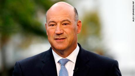 FILE - In this Friday, Sept. 1, 2017, file photo, Gary Cohn, director of the National Economic Council, is seen during a television interview at the White House, in Washington. President Donald Trump said Tuesday, Oct. 17, 2017, that he is likely to make his selection for the next Federal Reserve chairman from five candidates, a group that includes Cohn. (AP Photo/Alex Brandon, File)