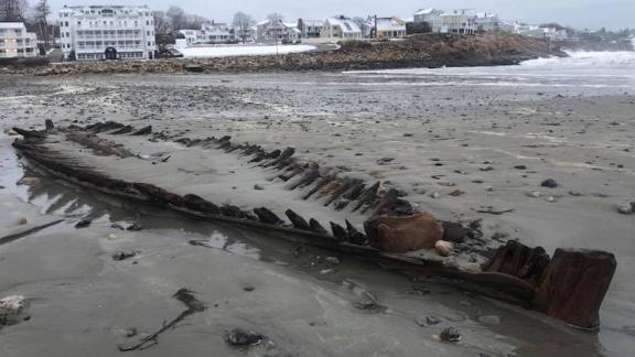 The York Police Department posted this photo of a shipwreck that was uncovered by this weekend's powerful storm on Short Sands Beach in York, Maine. The boat is uncovered every few years.