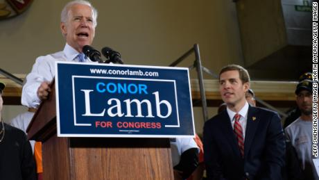 PITTSBURGH, PA - MARCH 6: Former Vice President Joe Biden speaks at a rally in support of Democratic congressional candidate Conor Lamb Tuesday March 6, 2018 at Robert Morris University in Pittsburgh. Lamb is running in a tight race for the vacated seat of Congressman Tim Murphy against Rick Saccone. President Donald Trump plans to visit Pennsylvania's 18th Congressional District March 10, 2018 in a bid to help  Saccone. (Photo by Jeff Swensen/Getty Images)