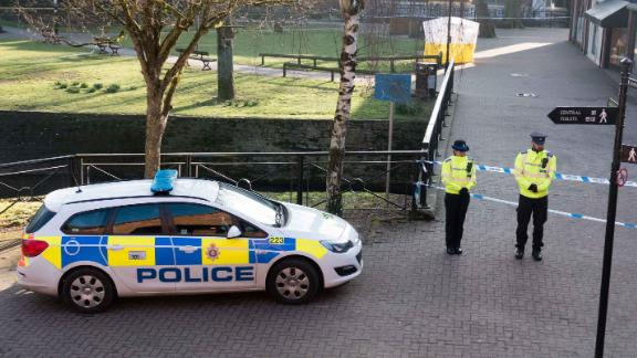 SALISBURY, ENGLAND - MARCH 07:  A police tent is seen behind a cordon outside The Maltings shopping centre where a man and a woman were found critically ill on a bench on March 4 and taken to hospital sparking a major incident, on March 7, 2018 in Wiltshire, England. Sergei Skripal, who was granted refuge in the UK following a
