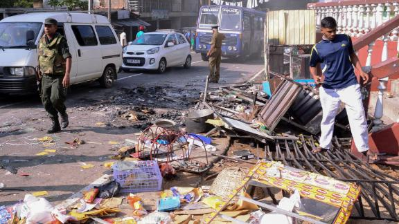 Debris from a damaged shop in the city of Kandy on March 6, 2018.