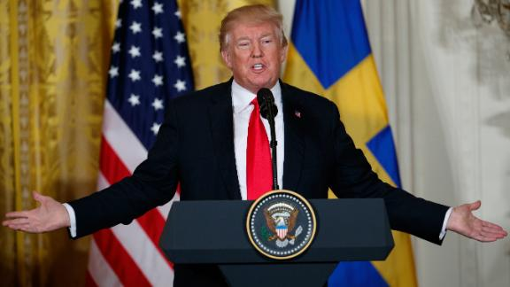 President Donald Trump speaks during a news conference with Swedish Prime Minister Stefan Lofven in the East Room of the White House, Tuesday, March 6, 2018, in Washington. (AP Photo/Evan Vucci)