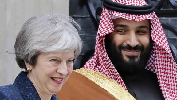 Britain's Prime Minister Theresa May greets Saudi Arabia's Crown Prince Mohammed bin Salman  outside 10 Downing Street.