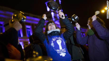 Protests began at midnight, with women gathering in Madrid's central square.