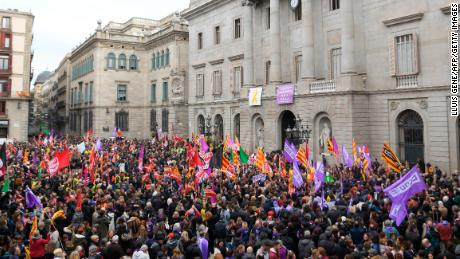 Demonstrators gathered at the Sant Jaume square in Barcelona Thursday during the one-day strike.