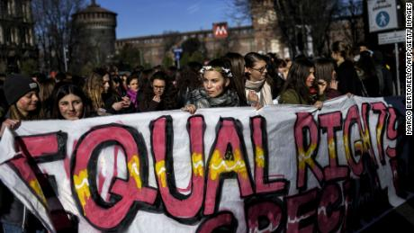 Young women took to the streets of Milan, Italy, as part of the International Women's Day protests.