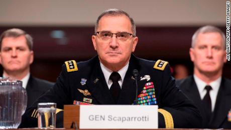 US Army General Curtis Scaparrotti, Commander of the US European Command and NATO Supreme Allied Commander Europe, testifies on Capitol Hill before the US Senate Armed Services Committee in Washington, DC, on March 8, 2018. (JIM WATSON/AFP/Getty Images)