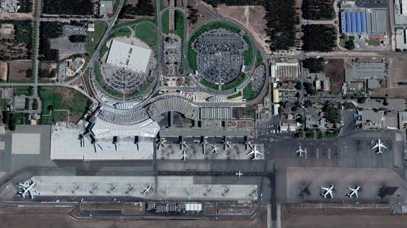 Satellite image of Casablanca Mohammed V International Airport, Morocco.