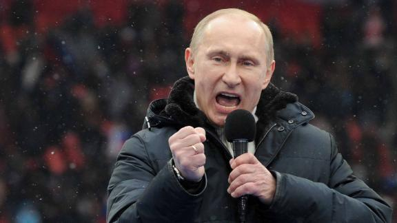 Russian Presidential candidate, Prime Minister Vladimir Putin delivers a speech during a rally of his supporters at the Luzhniki stadium in Moscow on February 23, 2012. Prime Minister Vladimir Putin on Thursday vowed he would not allow foreign powers to interfere in Russia