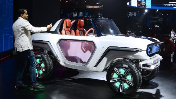 A four-wheel drive SUV concept from India, the futuristic looking e-Survivor will be powered by dual electric motors on each wheel and be equipped for autonomous travel.