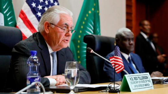 U.S. Secretary of State Rex Tillerson holds a news conference with African Union (AU) Commission Chairman Moussa Faki, of Chad,  after their meeting at African Union headquarters, Thursday, March 8, 2018 in Addis Ababa, Ethiopia.