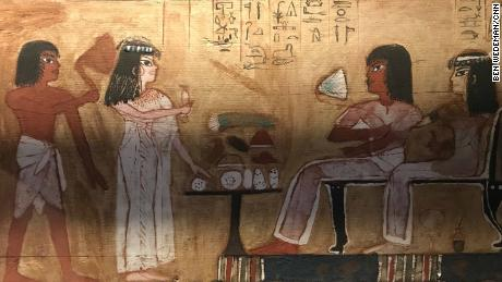 Antiquities on display demonstrate that women in ancient Egypt were equal to men. Here, Merit and her architect husband, Kha are pictured greeting visitors.