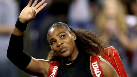Serena Williams waves during the Indian Wells tournament in March 2018 in California.